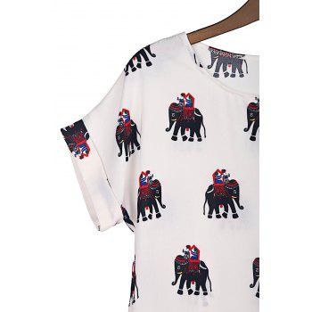 Elephant Print Sweet Scoop Neck Short Sleeve Women's T-Shirt - AS THE PICTURE AS THE PICTURE