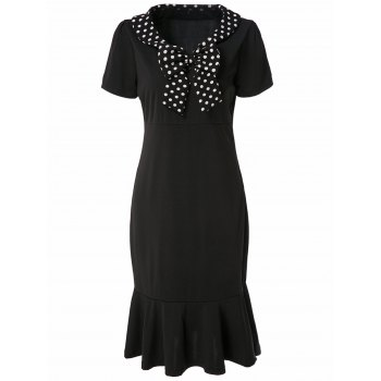 Vintage Short Sleeve V-Neck Polka Dot Bowknot Women's Fishtail Mermaid Dress