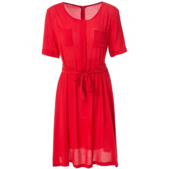 Fashionable Jewel Neck Solid Color Elastic Waist Belt Short Sleeve Dress For Women - RED M