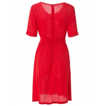 Fashionable Jewel Neck Solid Color Elastic Waist Belt Short Sleeve Dress For Women - RED RED
