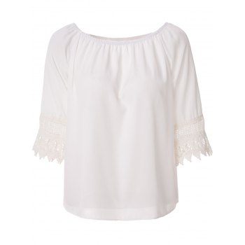 Stylish Slash Neck Lace Spliced Pure Color Off-The-Shoulder Blouse For Women