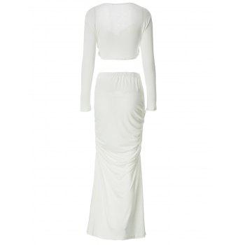 Long Sleeve T Shirt With Maxi Skirt Two Piece Dress - WHITE S