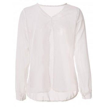 Sexy Style Jewel Neck Solid Color Back Slit Long Sleeve Blouse For Women - WHITE S