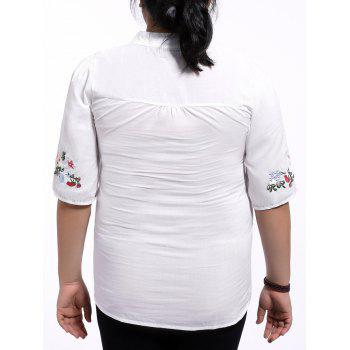 Ethnic Plus Size Floral Embroidered Stand Collar Women's Blouse - WHITE XL