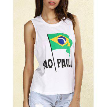 Stylish Women's Scoop Neck Brazilian Flag Tank Top