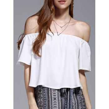 Women's Stylish Off The Shoulder Pure Color Chiffon Crop Top