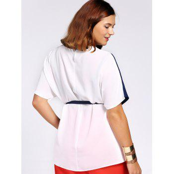 Chic Color Block Short Sleeve Waist Tied Plus Size Blouse For Women - COLORMIX 3XL