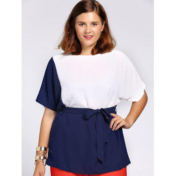 Chic Color Block Short Sleeve Waist Tied Plus Size Blouse For Women - XL XL