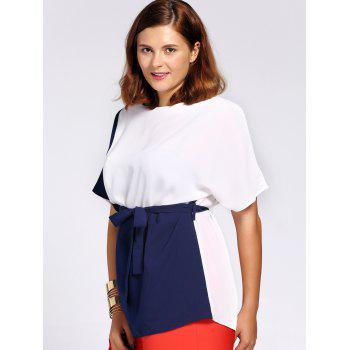 Chic Color Block Short Sleeve Waist Tied Plus Size Blouse For Women - 5XL 5XL