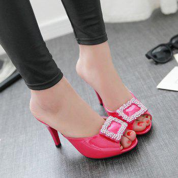 Stylish Square Buckle and Patent Leather Design Women's Slippers - PEACH RED 37