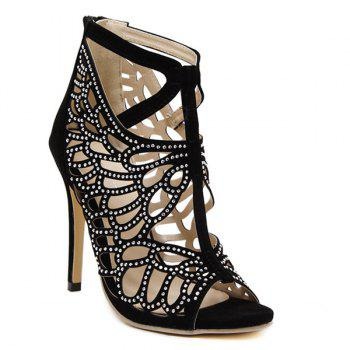 Trendy Black Colour and Hollow Out Design Women's Sandals