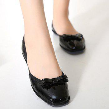 Casual Bow and Square Toe Design Women's Flat Shoes - BLACK 39