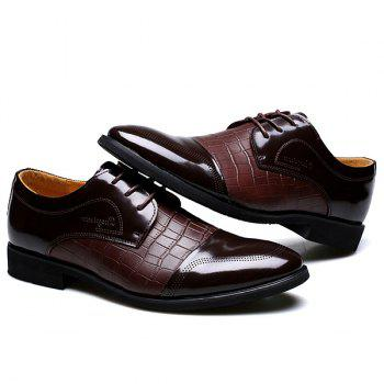 Trendy Crocodile Print and Splicing Design Men's Formal Shoes - BROWN 43