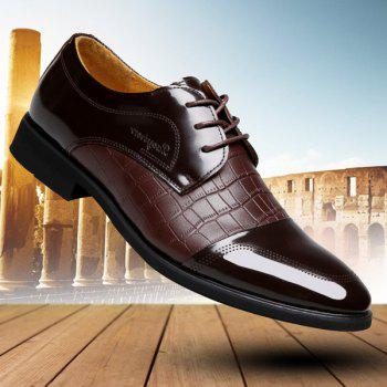 Trendy Crocodile Print and Splicing Design Men's Formal Shoes - BROWN 44
