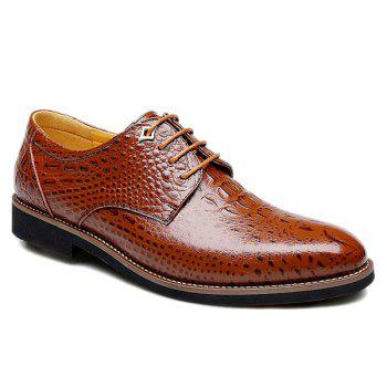 Trendy Crocodile Print and Lace-Up Design Men's Formal Shoes