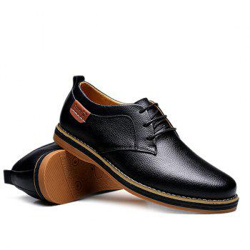 Preppy Lace-Up and Solid Color Design Men's Casual Shoes - BLACK 42