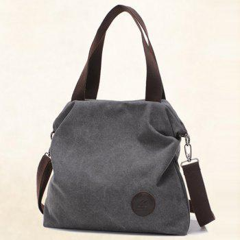 Casual Canvas and Solid Color Design Women's Tote Bag - GRAY