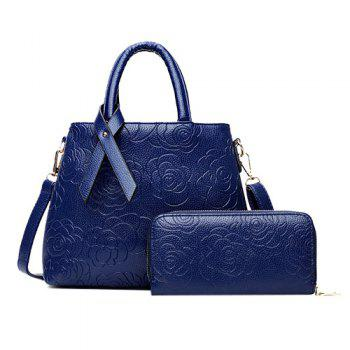 Graceful Floral Embossed and Solid Color Design Women's Tote Bag