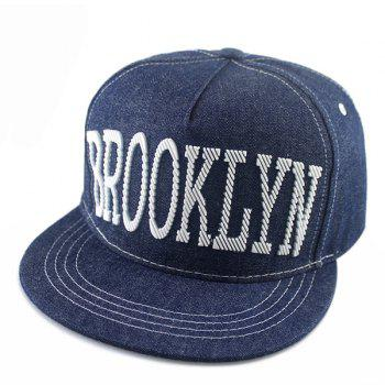 Street Fashion Hipsters Capital Letter Shape Embellished Denim Fabric Baseball Cap