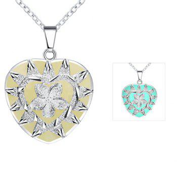 Noctilucence Heart Shaped Pendant Necklace - CYAN
