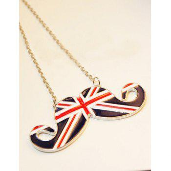 Union Flag Mustache Shape Pendant Britain Style Necklace - GOLDEN