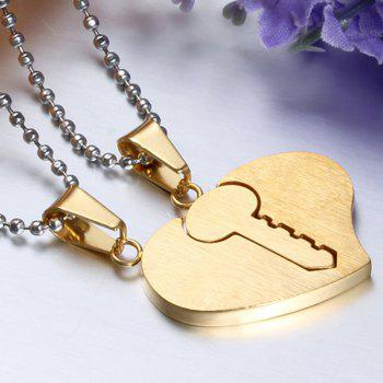 A Suit of Key Heart Pendant Necklaces For Lover - GOLDEN
