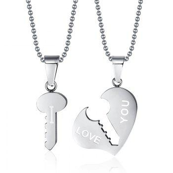 A Suit of Key Heart Pendant Necklaces For Lover