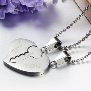 A Suit of Key Heart Pendant Necklaces For Lover - SILVER