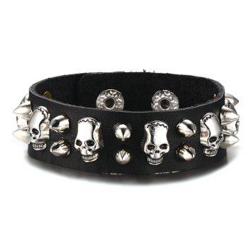 Gothic Faux Leather Skulls Rivet Bracelet