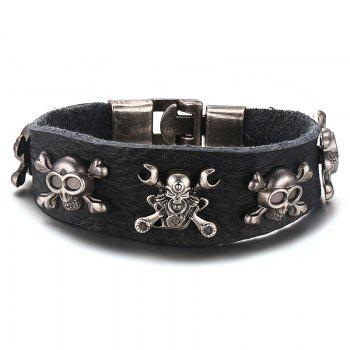 Faux Leather Skull Chain Bracelet