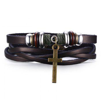 Chic Faux Leather Crucifix Bracelet For Men