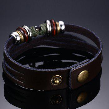 Chic Faux Leather Crucifix Bracelet For Men - BROWN
