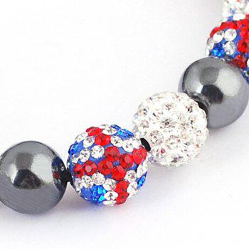 Hot Sale Union Flag Red White and Blue Beaded Bracelet - BLUE