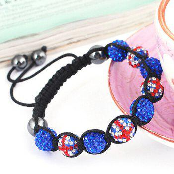 Weaving Union Flag Red White and Blue Ball Bracelet
