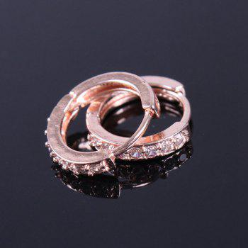 Pair of Rhinestoned Gold Plated Earrings - ROSE GOLD