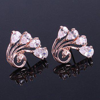 Pair of Rhinestone Peacock Stud Earrings