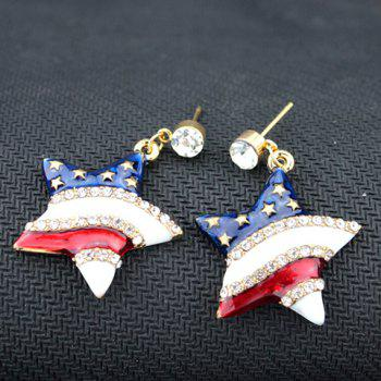 Pair of Rhinestone American Flag Design Star Pendant Earrings