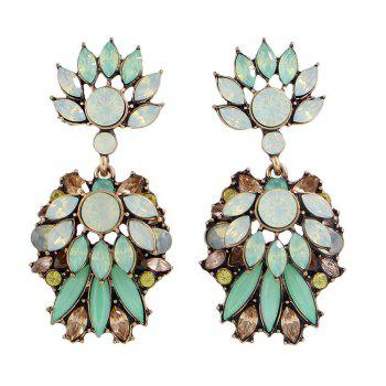 Pair of Faux Crystal Rhinestone Leaf Earrings