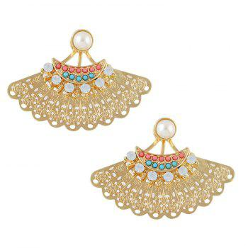 Pair of Rhinestone Hollowed Fan Shape Earrings