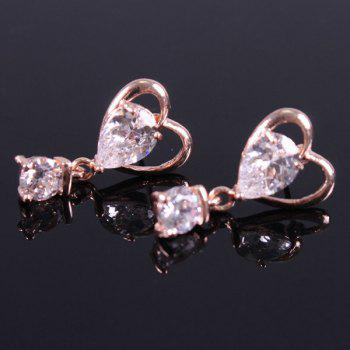 Pair of Heart Shaped Zircon Drop Earrings