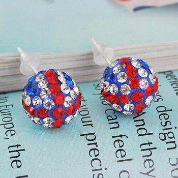 Pair of Union Flag Ball Shape Stud Earrings