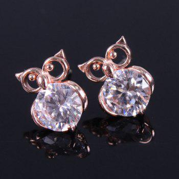 Pair of Owl Zircon Stud Earrings