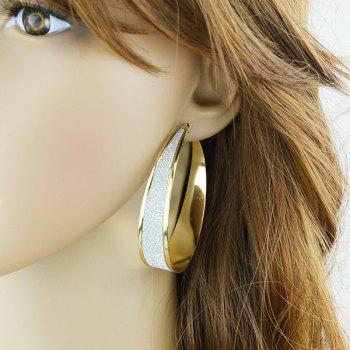 Pair of Polished Hoop Earrings - GOLDEN