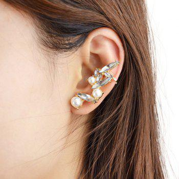 One Piece Gorgeous Faux Pearl Crystal Leaf Earrings For Women