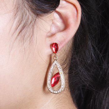 Pair of Artificial Ruby Rhinestone Teardrop Earrings - GOLDEN