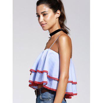 Chic Women's Spaghetti Strap Ruffles Crop Top - STRIPE S