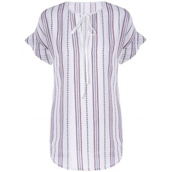 Fashionable Women's Round Neck Short Sleeve Striped Blouse