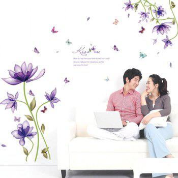Stylish Purple Flowers Pattern Wall Sticker For Bedroom Livingroom Decoration