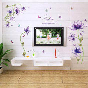 Stylish Purple Flowers Pattern Wall Sticker For Bedroom Livingroom Decoration - PURPLE