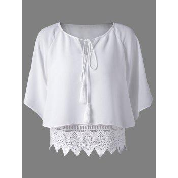 Round Collar Lace Spliced Hollow Out Pure Color Women s Blouse